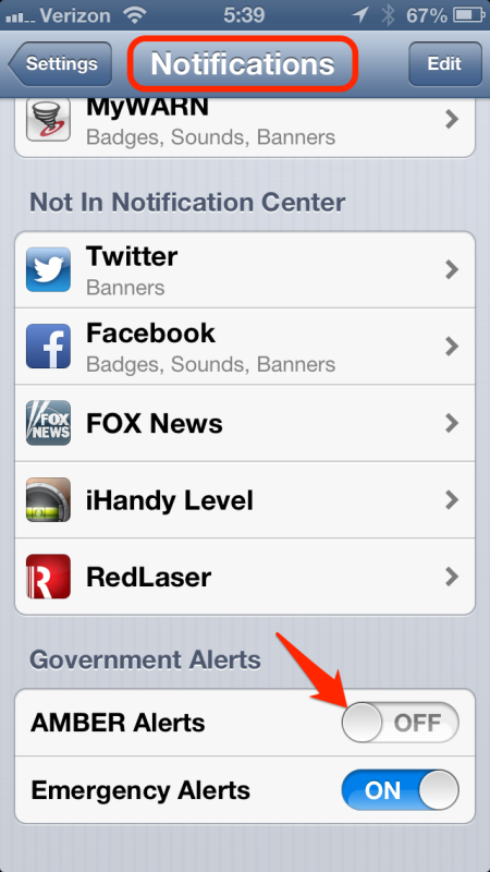 iPhone: Notifications -> Government alerts
